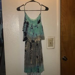 SAGE tie dye dress with an open back
